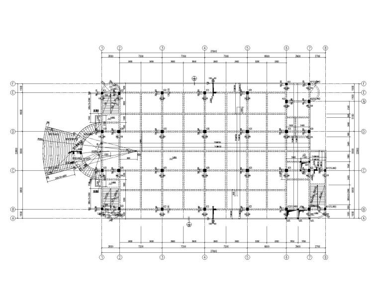 某会所框架混凝土结构施工图(CAD)