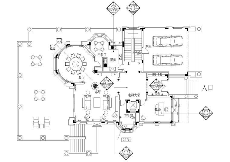 高尔夫球会别墅A型室内装修施工图+实景拍摄