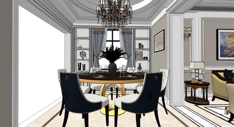 简欧风格客餐厅空间SU模型设计