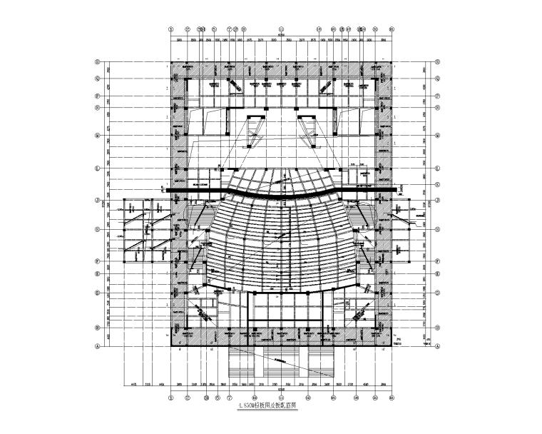 3层学校会堂框架-剪力墙结构施工图(含建筑)
