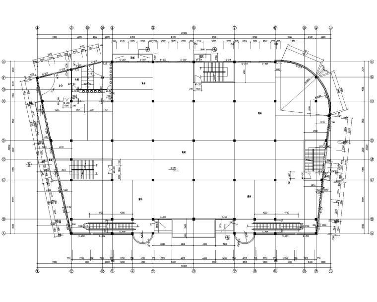 某三层商场混凝土施工图(含建筑图)(CAD)