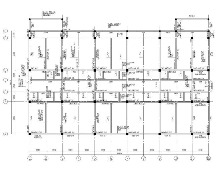 某四层学生宿舍楼混凝土结构施工图(CAD)