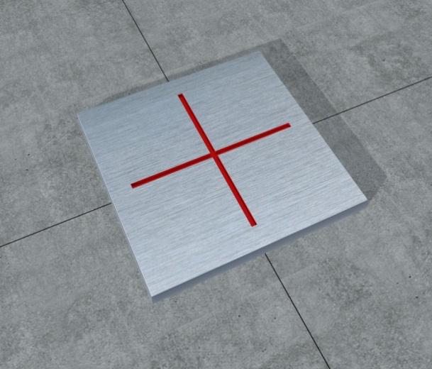 """64预埋不锈钢板,在控制点位置刻上""""+""""标识,刻槽中填注红油漆"""