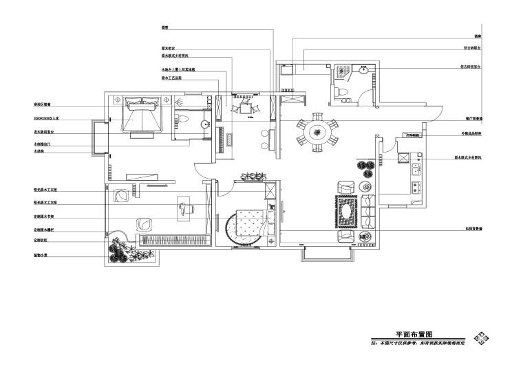 欧式风格两居室私人住宅装修施工图+效果