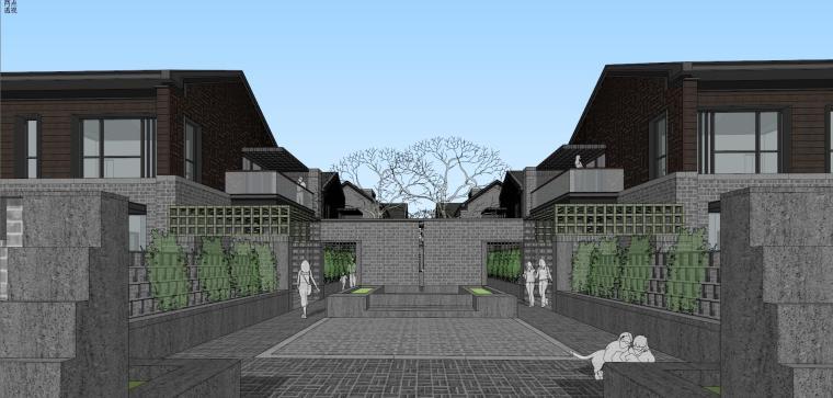 现代风格中式民国风合院别墅建筑模型