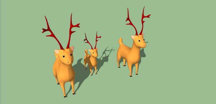 小鹿雕塑小品模型设计