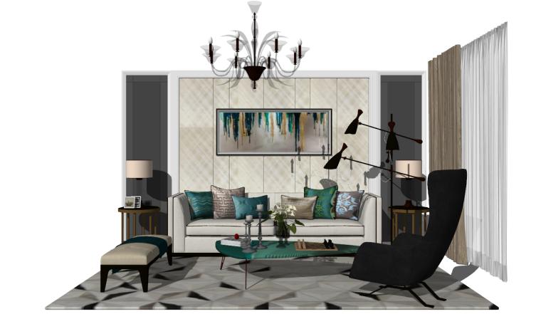 轻奢客厅组合模型_吊灯、落地灯、沙发茶几