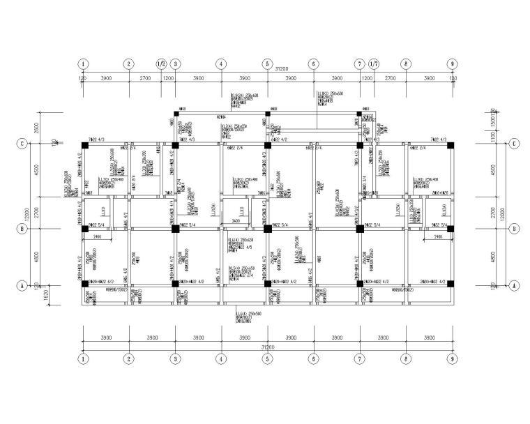 某五层框架商住结构施工图(CAD)
