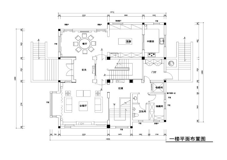 500平美式古典风格联体别墅施工图+效果图