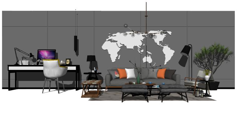轻奢客厅组合模型_书桌椅组合、沙发茶几