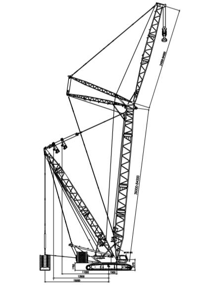 QUY400 超起塔式副臂工况履带起重机