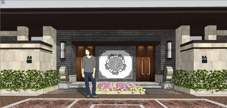 中式风格度假别墅建筑模型设计