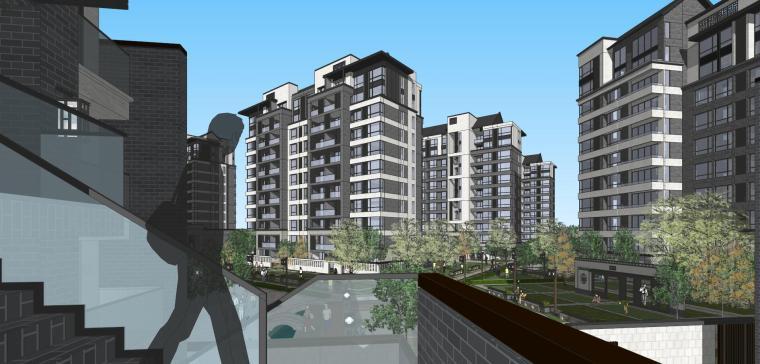 中式联排+高层建筑模型设计