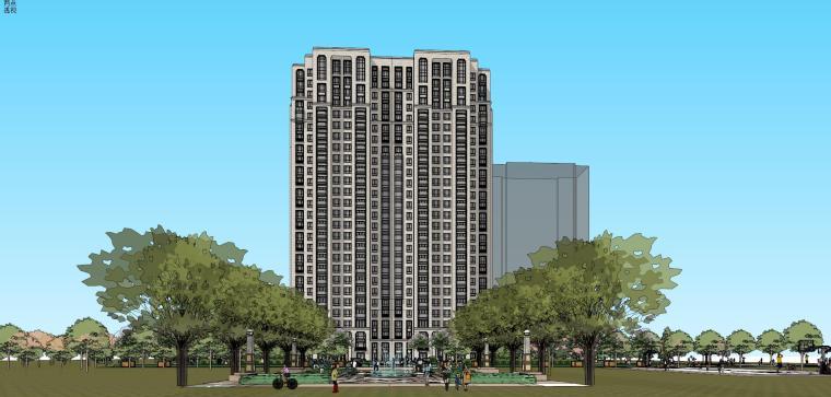 大都会新古典风格高层住宅建筑模型设计