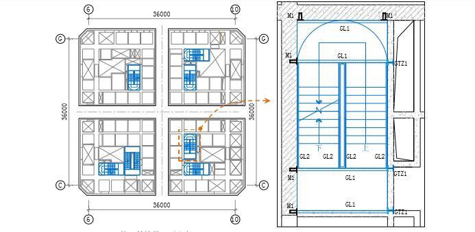 02核心筒楼梯平面分布