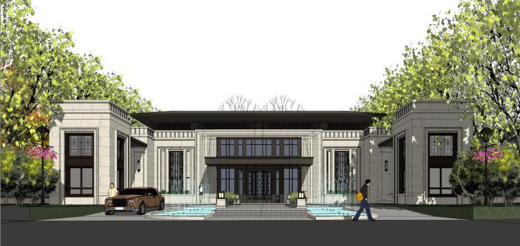 新古典风格入口+会所示范区建筑模型
