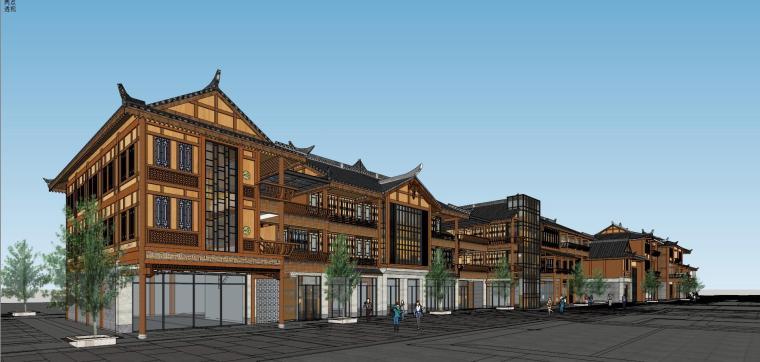 少数民族风格商业街建筑模型设计