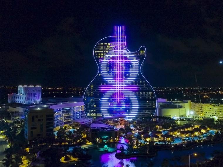 美国Seminole硬石赌场酒店开幕式数字灯光秀
