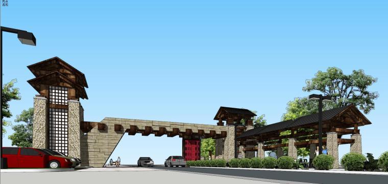 特色景区大门建筑模型设计