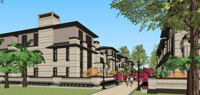 新亚洲风格双拼组团别墅建筑模型