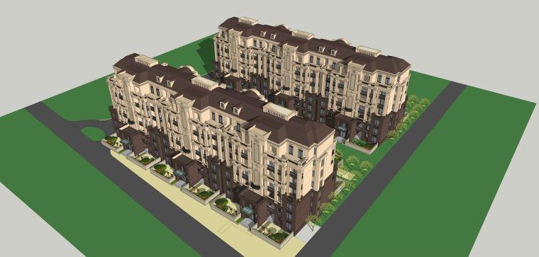 简欧洋房造型建筑模型设计