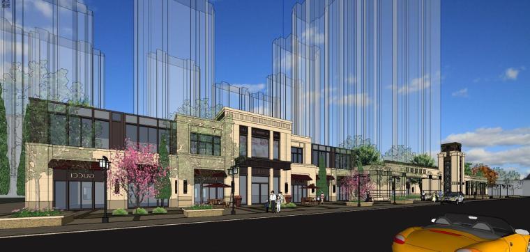 新古典风格中海沿街商业建筑模型
