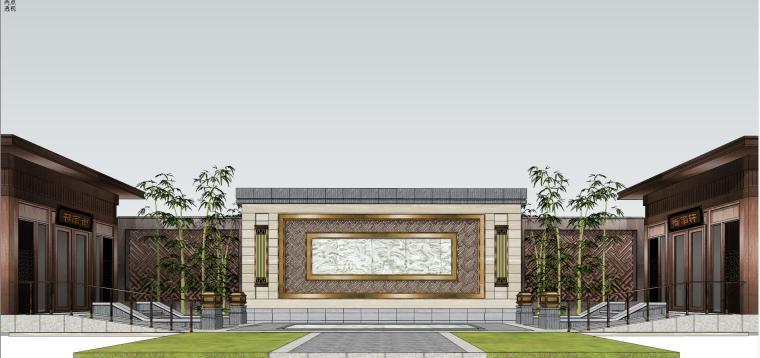 泰禾院子配景门头建筑模型设计