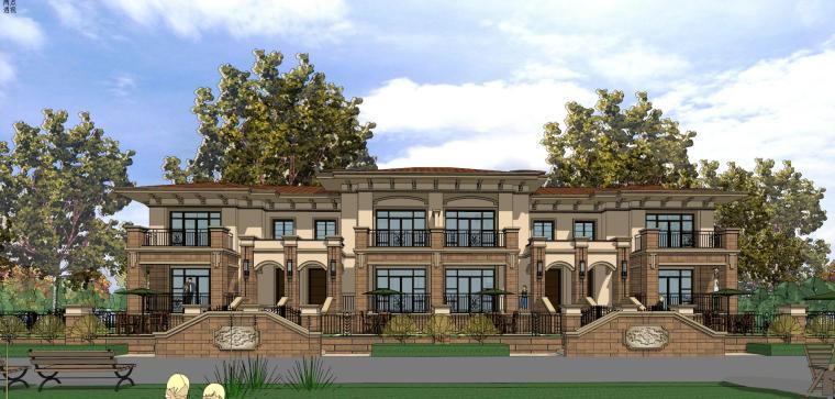 地中海风格金科新疆建筑住宅模型设计