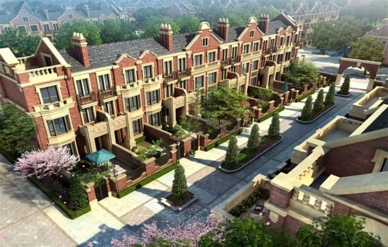 绿地海域笙晖褐石联排住宅建筑模型