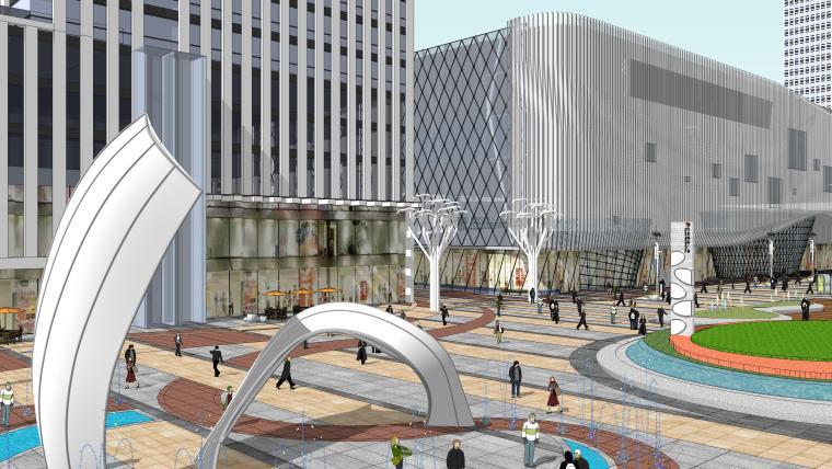 现代曲面城市商业综合体广场景观su模型
