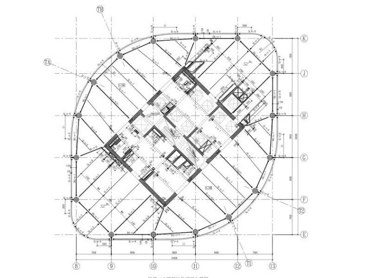 44层钢管砼柱框架-核心筒金融大厦结构图