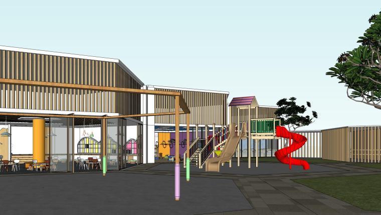 幼儿园早教中心室内装修设计SU模型效果草图