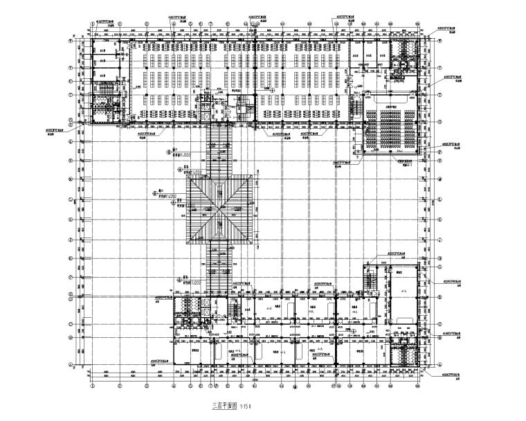 5層框架結構學校圖書館施工圖_建筑結構水電