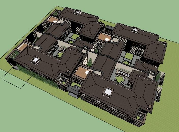 [北京]瑞府合院住宅建筑模型设计
