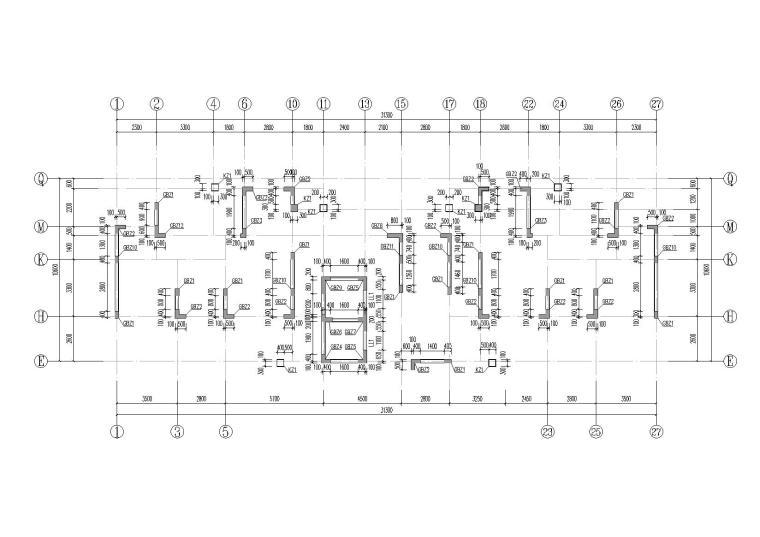 148m钢框架-砼核心筒商业办公楼结构图2015