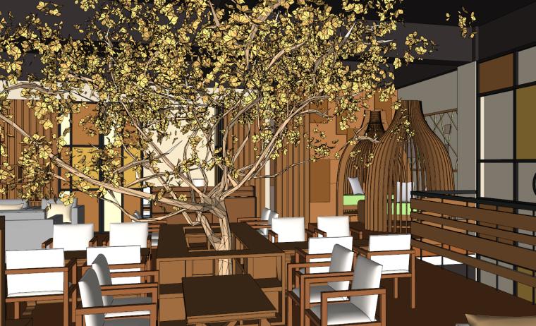 现代暖色生态时尚咖啡厅su模型
