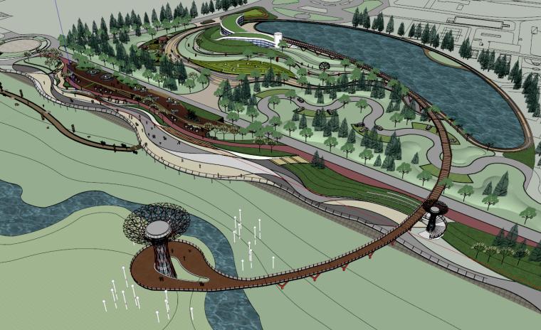 滨水河廊道景观挑台公园环境设计方案su模型