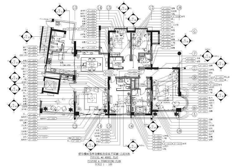 [杭州]滨江金色海岸标准楼美式样板间施工图