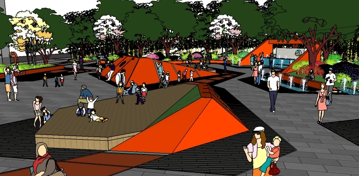 精品街头公园景观sketchup模型