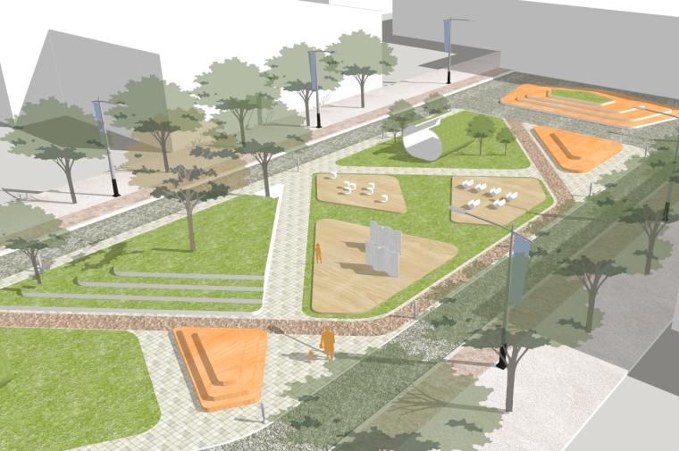 现代街心公园景观规划设计城市绿地广场su