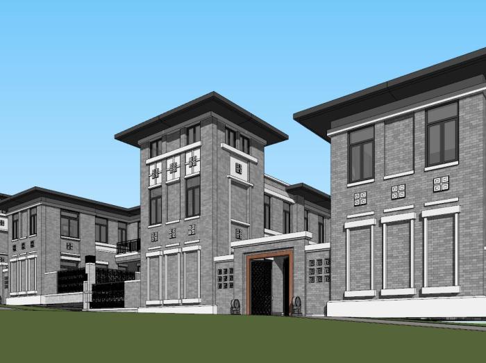 民国风合院别墅建筑模型设计