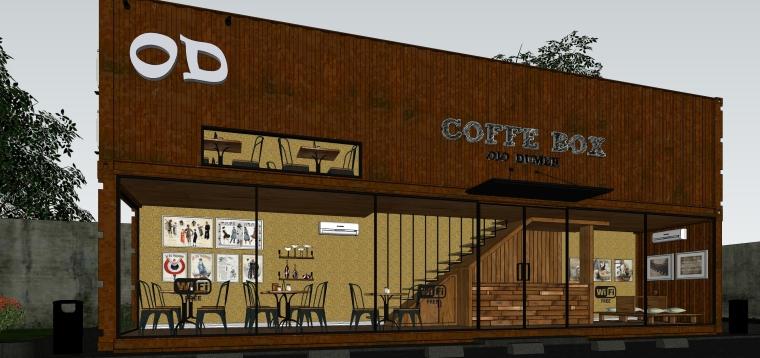 集装箱双层木制咖啡屋的SU模型