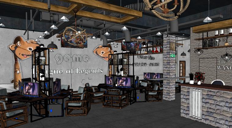 网咖网吧室内装修设计商业空间su模型