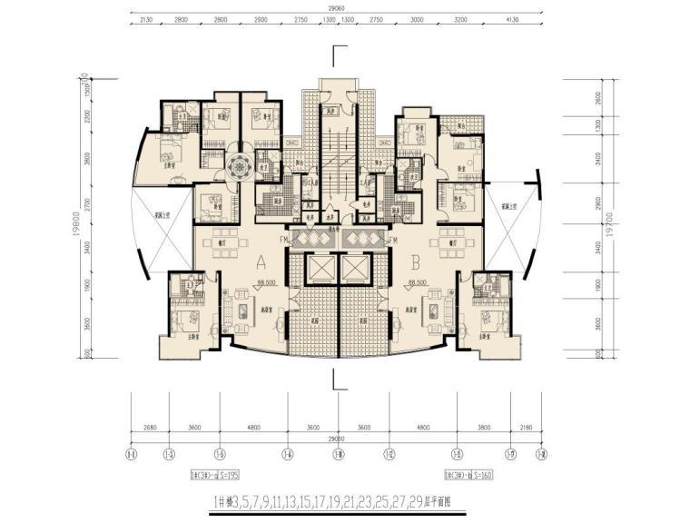 高层(16层-33层)豪宅户型平面图,