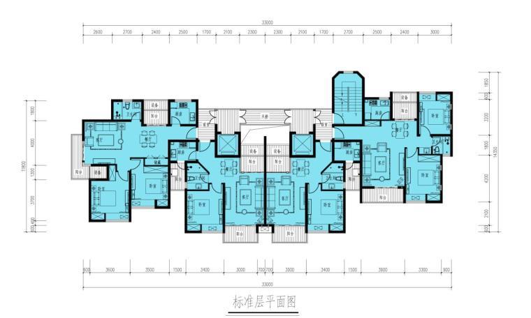 90平方二户室户型平面图