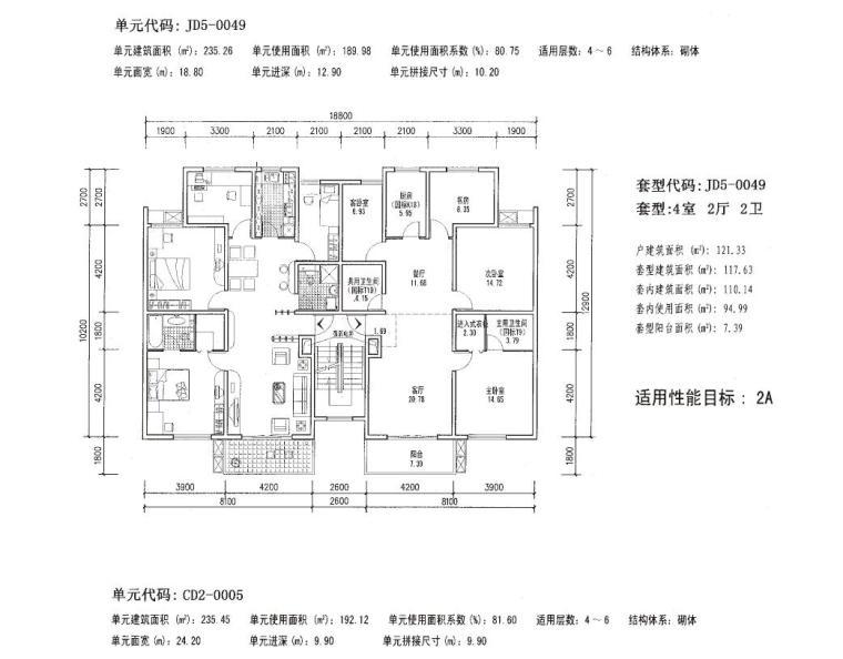 多层(4-7层)平层四室户及以上户型设计图