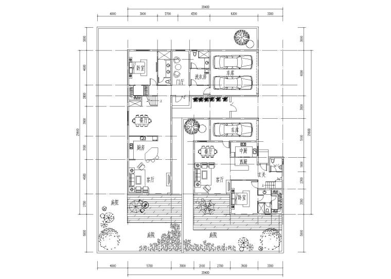 知名地产双拼合院别墅CAD户型设计图