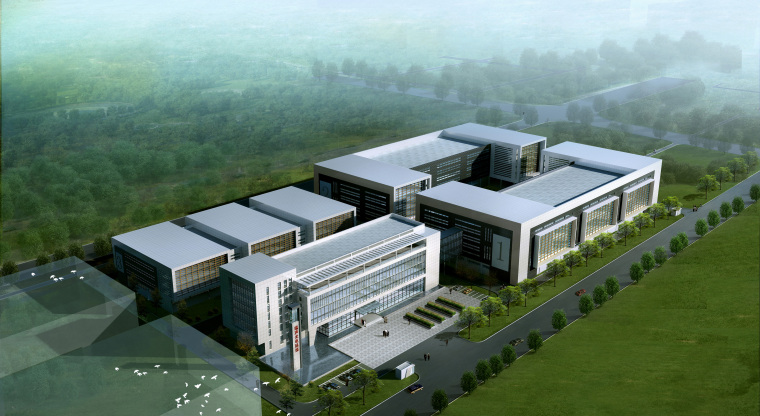 厂房厂区工厂建筑设计工业风SU模型含CAD