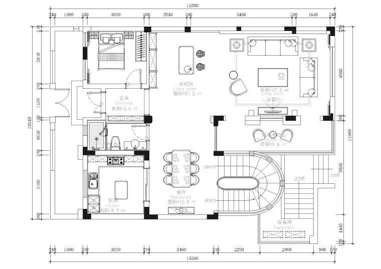 [无锡]复地源墅法式豪宅施工图+效果图