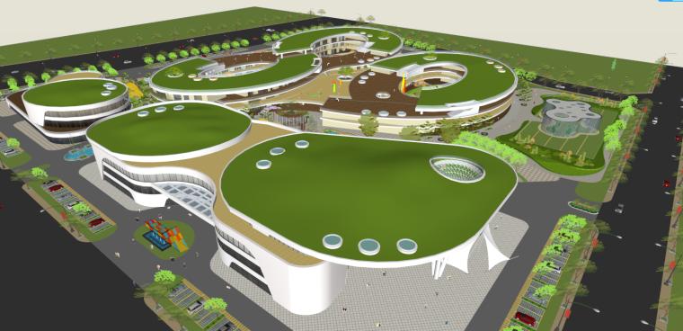 武威清华苑现代风格幼儿园建筑模型